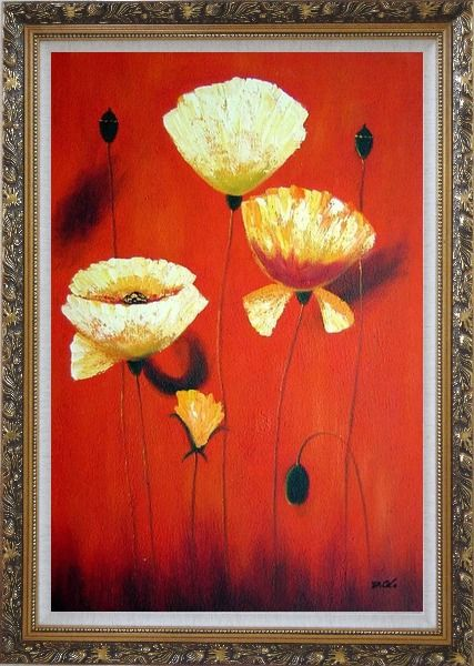 Framed Yellow White Flowers In Red Background Oil Painting Modern Ornate Antique Dark Gold Wood Frame 42 x 30 Inches