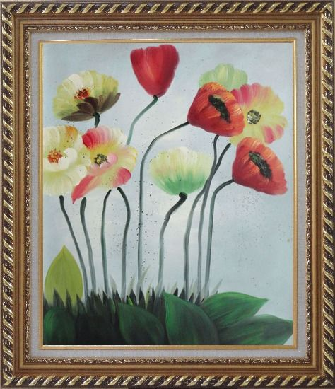 Framed Lovely Flowers in Various Colors Oil Painting Decorative Exquisite Gold Wood Frame 30 x 26 Inches