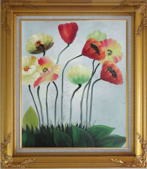 Framed Lovely Flowers in Various Colors Oil Painting Decorative Gold Wood Frame with Deco Corners 31 x 27 Inches