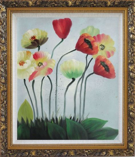 Framed Lovely Flowers in Various Colors Oil Painting Decorative Ornate Antique Dark Gold Wood Frame 30 x 26 Inches