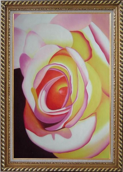 Framed Fresh Blooming Pink Rose Painting Oil Flower Naturalism Exquisite Gold Wood Frame 42 x 30 Inches