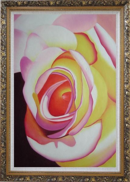 Framed Fresh Blooming Pink Rose Painting Oil Flower Naturalism Ornate Antique Dark Gold Wood Frame 42 x 30 Inches