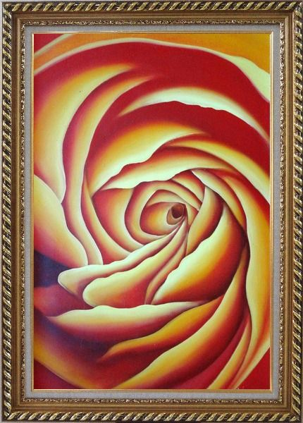 Framed Giant Bloom Yellow Summer Rose Oil Painting Flower Modern Exquisite Gold Wood Frame 42 x 30 Inches