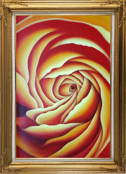 Framed Giant Bloom Yellow Summer Rose Oil Painting Flower Modern Gold Wood Frame with Deco Corners 43 x 31 Inches