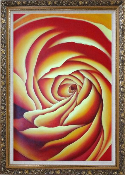 Framed Giant Bloom Yellow Summer Rose Oil Painting Flower Modern Ornate Antique Dark Gold Wood Frame 42 x 30 Inches
