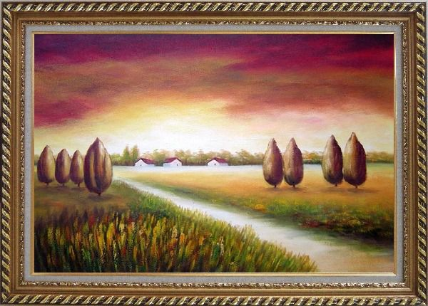 Framed Path to a Village Oil Painting Landscape Tree Modern Exquisite Gold Wood Frame 30 x 42 Inches