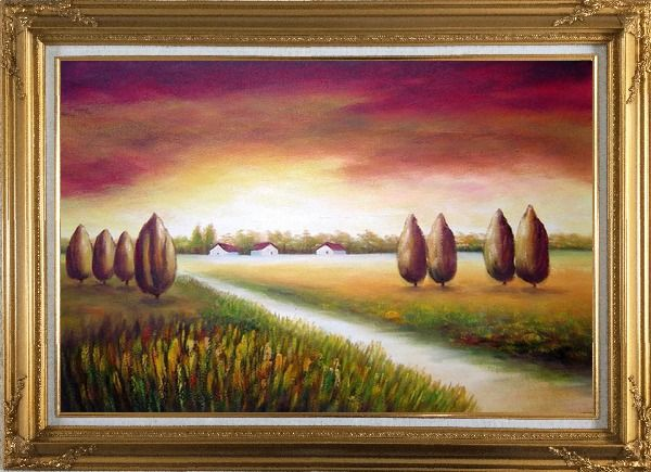 Framed Path to a Village Oil Painting Landscape Tree Modern Gold Wood Frame with Deco Corners 31 x 43 Inches