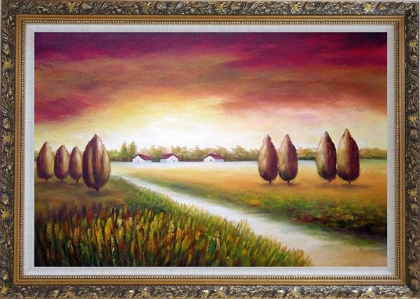 Framed Path to a Village Oil Painting Landscape Tree Modern Ornate Antique Dark Gold Wood Frame 30 x 42 Inches