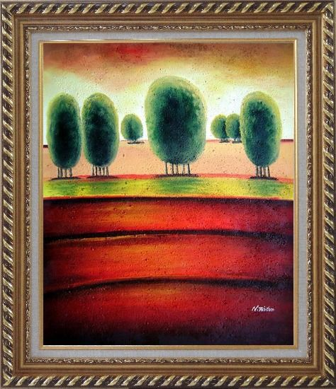 Framed Red Soil Painting Landscape Tree Modern Exquisite Gold Wood Frame 30 x 26 Inches