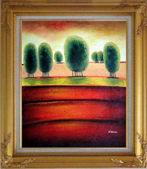 Framed Red Soil Painting Landscape Tree Modern Gold Wood Frame with Deco Corners 31 x 27 Inches