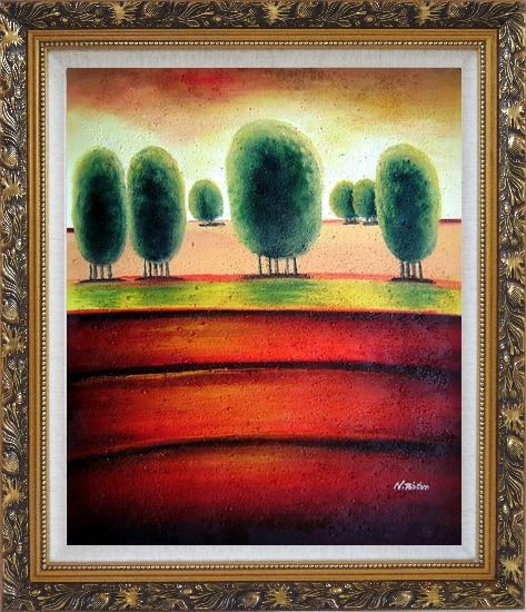 Framed Red Soil Painting Landscape Tree Modern Ornate Antique Dark Gold Wood Frame 30 x 26 Inches