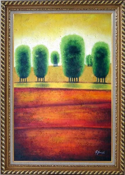 Framed Red Soil Painting Landscape Tree Modern Exquisite Gold Wood Frame 42 x 30 Inches