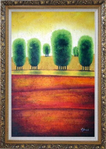 Framed Red Soil Painting Landscape Tree Modern Ornate Antique Dark Gold Wood Frame 42 x 30 Inches