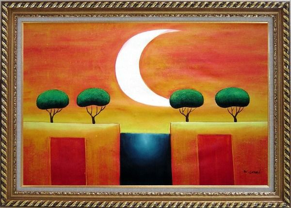 Framed Four Modern Green Trees in Moonlight Oil Painting Landscape Exquisite Gold Wood Frame 30 x 42 Inches
