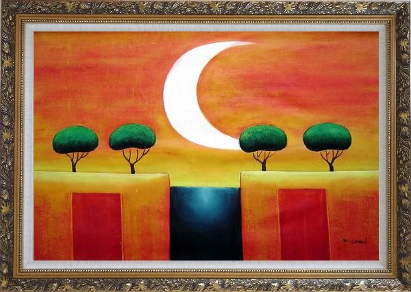 Framed Four Modern Green Trees in Moonlight Oil Painting Landscape Ornate Antique Dark Gold Wood Frame 30 x 42 Inches