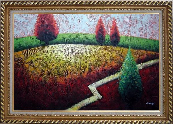 Framed Contemporary Tree Landscape Oil Painting Modern Exquisite Gold Wood Frame 30 x 42 Inches