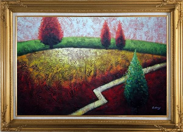 Framed Contemporary Tree Landscape Oil Painting Modern Gold Wood Frame with Deco Corners 31 x 43 Inches