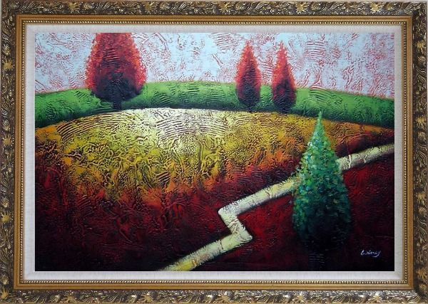 Framed Contemporary Tree Landscape Oil Painting Modern Ornate Antique Dark Gold Wood Frame 30 x 42 Inches