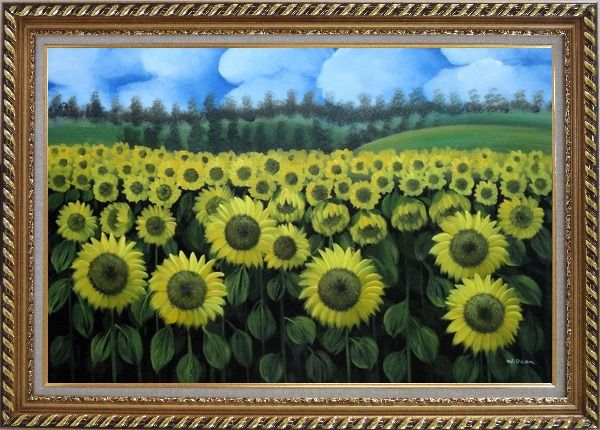 Framed Endless Yellow Sunflower Field Oil Painting Landscape Naturalism Exquisite Gold Wood Frame 30 x 42 Inches