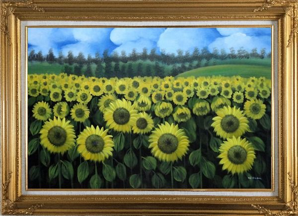 Framed Endless Yellow Sunflower Field Oil Painting Landscape Naturalism Gold Wood Frame with Deco Corners 31 x 43 Inches