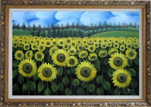 Framed Endless Yellow Sunflower Field Oil Painting Landscape Naturalism Ornate Antique Dark Gold Wood Frame 30 x 42 Inches