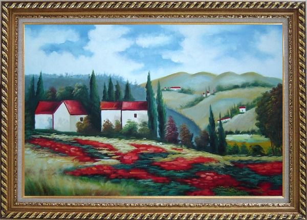 Framed Tuscany Landscape Scene Oil Painting Field Italy Naturalism Exquisite Gold Wood Frame 30 x 42 Inches