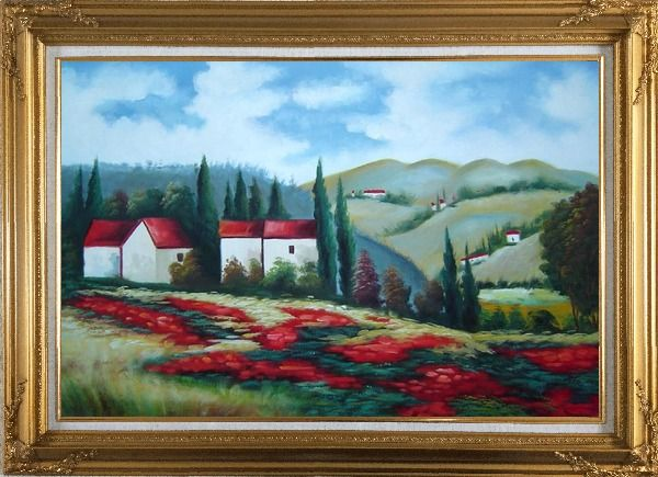 Framed Tuscany Landscape Scene Oil Painting Field Italy Naturalism Gold Wood Frame with Deco Corners 31 x 43 Inches