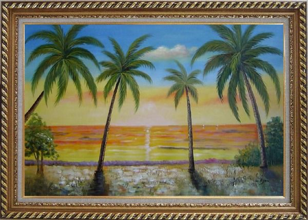 Framed Seashore Palm Trees on Sunset Oil Painting Seascape America Naturalism Exquisite Gold Wood Frame 30 x 42 Inches