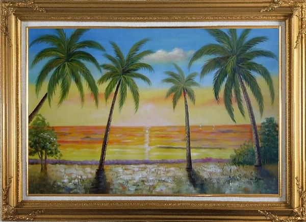 Framed Seashore Palm Trees on Sunset Oil Painting Seascape America Naturalism Gold Wood Frame with Deco Corners 31 x 43 Inches