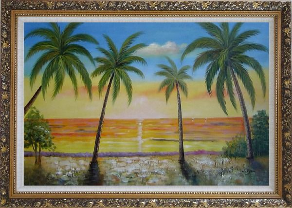 Framed Seashore Palm Trees on Sunset Oil Painting Seascape America Naturalism Ornate Antique Dark Gold Wood Frame 30 x 42 Inches