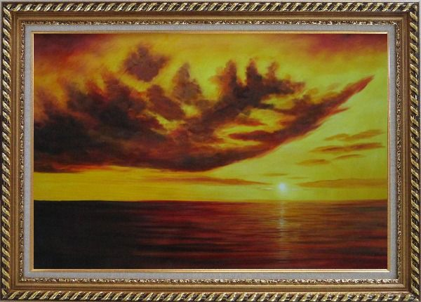 Framed Beautiful Golden Sunset Skyscapes Oil Painting Seascape America Naturalism Exquisite Gold Wood Frame 30 x 42 Inches