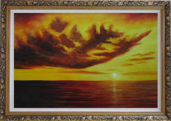 Framed Beautiful Golden Sunset Skyscapes Oil Painting Seascape America Naturalism Ornate Antique Dark Gold Wood Frame 30 x 42 Inches