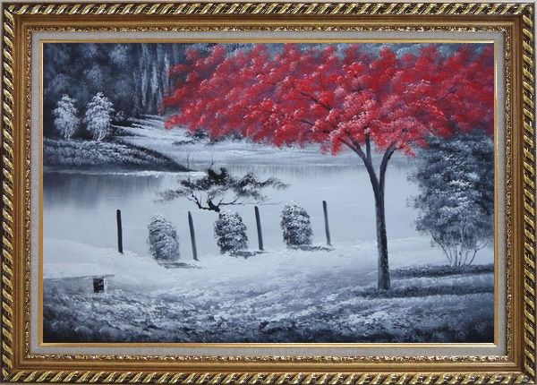 Framed Red Tree in Black and White Landscape Oil Painting Naturalism Exquisite Gold Wood Frame 30 x 42 Inches