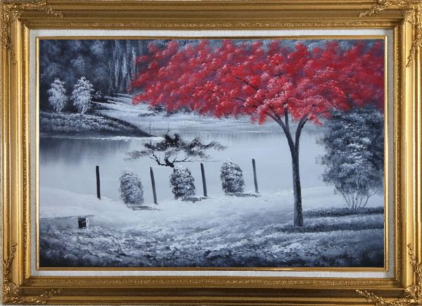 Framed Red Tree in Black and White Landscape Oil Painting Naturalism Gold Wood Frame with Deco Corners 31 x 43 Inches
