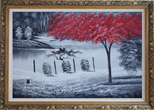 Framed Red Tree in Black and White Landscape Oil Painting Naturalism Ornate Antique Dark Gold Wood Frame 30 x 42 Inches