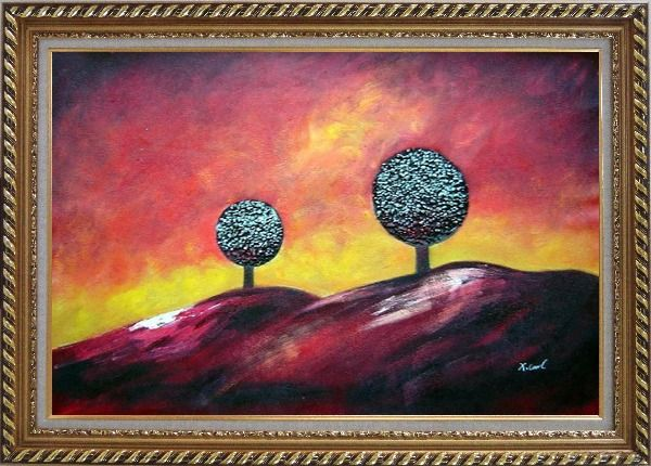 Framed Two Trees Under Red Sky Oil Painting Landscape Decorative Exquisite Gold Wood Frame 30 x 42 Inches