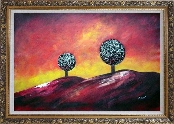 Framed Two Trees Under Red Sky Oil Painting Landscape Decorative Ornate Antique Dark Gold Wood Frame 30 x 42 Inches