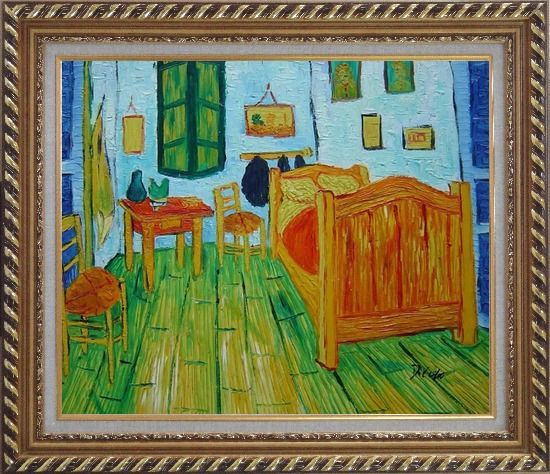 Framed Vincent's Bedroom in Arles, Van Gogh Oil Painting Cityscape France Post Impressionism Exquisite Gold Wood Frame 26 x 30 Inches