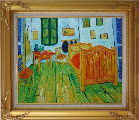 Framed Vincent's Bedroom in Arles, Van Gogh Oil Painting Cityscape France Post Impressionism Gold Wood Frame with Deco Corners 27 x 31 Inches