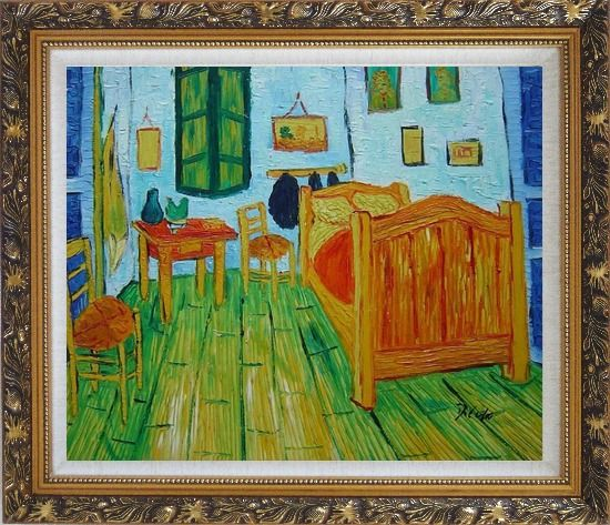Framed Vincent's Bedroom in Arles, Van Gogh Oil Painting Cityscape France Post Impressionism Ornate Antique Dark Gold Wood Frame 26 x 30 Inches