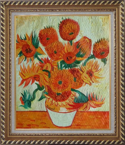 Framed Sunflowers, Van Gogh Reproduction Oil Painting Still Life Post Impressionism Exquisite Gold Wood Frame 30 x 26 Inches