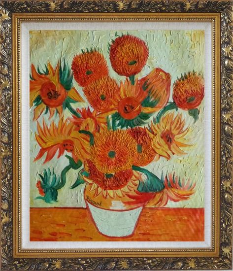 Framed Sunflowers, Van Gogh Reproduction Oil Painting Still Life Post Impressionism Ornate Antique Dark Gold Wood Frame 30 x 26 Inches