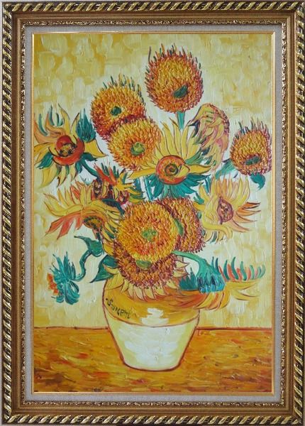 Framed sunflowers van gogh reproduction oil painting for Framed reproduction oil paintings