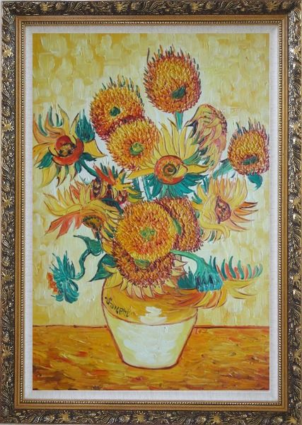 Framed Sunflowers, Van Gogh Reproduction Oil Painting Still Life Post Impressionism Ornate Antique Dark Gold Wood Frame 42 x 30 Inches