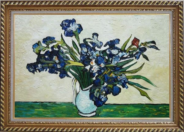 Framed Irises, Van Gogh Reproduction Oil Painting Flower Still Life Post Impressionism Exquisite Gold Wood Frame 30 x 42 Inches