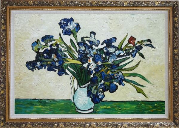 Framed Irises, Van Gogh Reproduction Oil Painting Flower Still Life Post Impressionism Ornate Antique Dark Gold Wood Frame 30 x 42 Inches