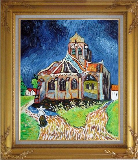 Framed Church at Auvers, Van Gogh Reproduction Oil Painting Garden France Post Impressionism Gold Wood Frame with Deco Corners 31 x 27 Inches