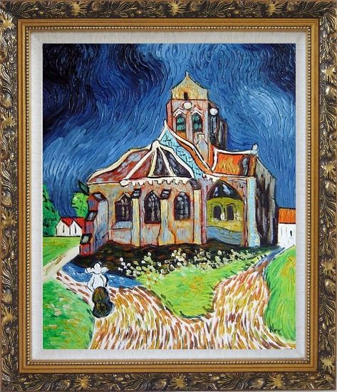Framed Church at Auvers, Van Gogh Reproduction Oil Painting Garden France Post Impressionism Ornate Antique Dark Gold Wood Frame 30 x 26 Inches