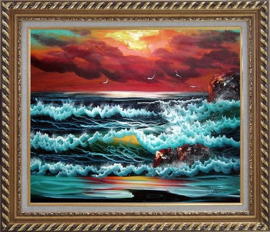 Framed Flying Seagulls Over Sea Waves On Sunset Oil Painting Seascape Naturalism Exquisite Gold Wood Frame 26 x 30 Inches