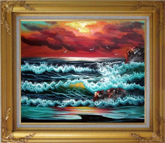 Framed Flying Seagulls Over Sea Waves On Sunset Oil Painting Seascape Naturalism Gold Wood Frame with Deco Corners 27 x 31 Inches